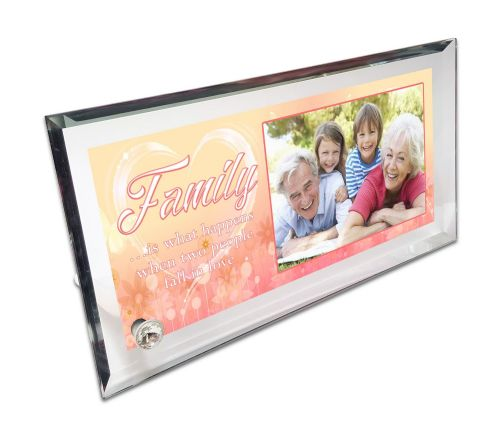Personalised Family Quote Crystal Photo Frame